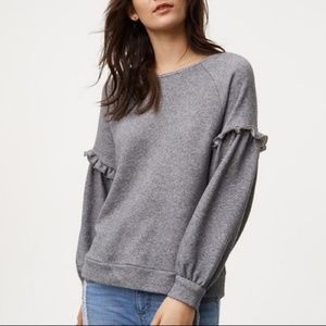 Grey Loft Ruffle Sleeve Sweatshirt Size Small